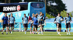 Denmark's players exercise during a team training session in Helsingor, Denmark, Wednesday, June 16, 2021 the day before the Euro 2020 soccer championship group B match between Denmark and Belgium. (AP Photo/Martin Meissner)