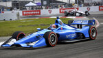 Chip Ganassi Racing's Felix Rosenqvist (10), of Sweden, drives during the IndyCar Firestone Grand Prix of St. Petersburg (Fla.) auto race Sunday, March 10, 2019, in St Petersburg, Fla. (AP Photo/Jason Behnken)