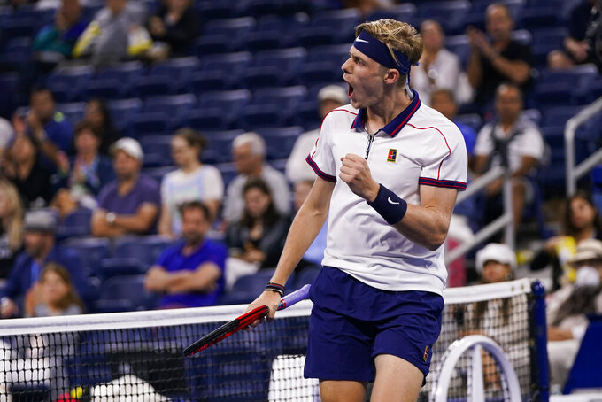 Denis Shapovalov, of Canada, reacts after winning a point against Roberto Carballes Baena, of Spain, during the second round of the US Open tennis championships, Thursday, Sept. 2, 2021, in New York. (AP Photo/Frank Franklin II)