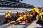 Ryan Hunter-Reay practices a pit stop during practice for the Indianapolis 500 auto race at Indianapolis Motor Speedway in Indianapolis, Thursday, May 20, 2021. (AP Photo/Michael Conroy)
