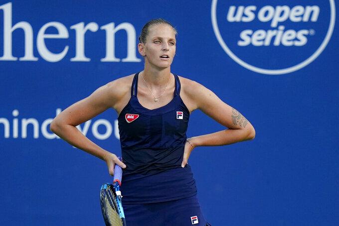 Karolina Pliskova, of the Czech Republic, Veronika Kudermetova, of Russia, at the Western & Southern Open tennis tournament, Sunday, Aug. 23, 2020, in New York. (AP Photo/Frank Franklin II)