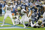New Orleans Saints running back Alvin Kamara (41) scores a touchdown on a 1-yard run against the Tennessee Titans in the second half of an NFL football game Sunday, Dec. 22, 2019, in Nashville, Tenn. (AP Photo/James Kenney)