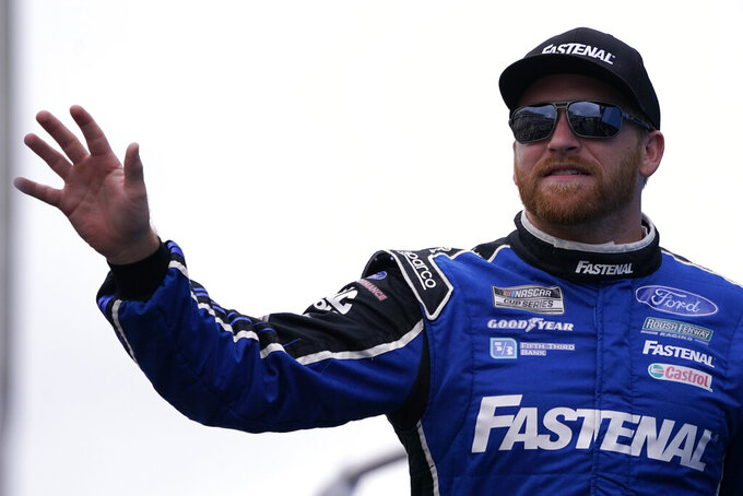 Chris Buescher at a NASCAR Cup Series auto race, Sunday, July 18, 2021, in Loudon, N.H. (AP Photo/Charles Krupa)