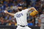 Tampa Bay Rays' Nick Anderson pitches against the Houston Astros in the fifth inning of Game 4 of a baseball American League Division Series, Tuesday, Oct. 8, 2019, in St. Petersburg, Fla. (AP Photo/Scott Audette)
