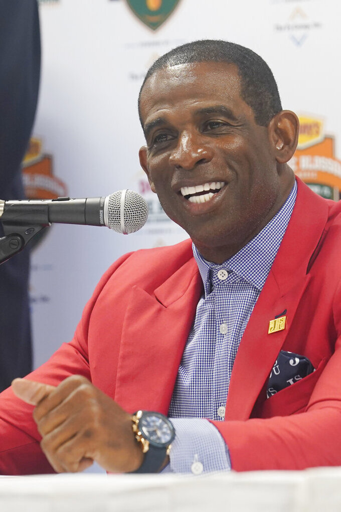 Jackson State University head coach Deion Sanders speaks during an NCAA college football news conference, Friday, Sept. 3, 2021, in Miami Gardens, Fla. Jackson State University and Florida A&M will play in the Orange Blossom Classic on Sunday. (AP Photo/Marta Lavandier)