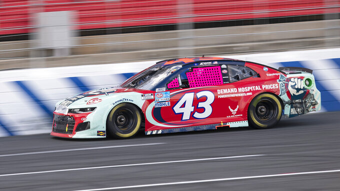 Erik Jones (43) drives during a NASCAR Cup Series auto racing race at Charlotte Motor Speedway, Monday, Oct. 11, 2021, in Concord, N.C. (AP Photo/Matt Kelley)