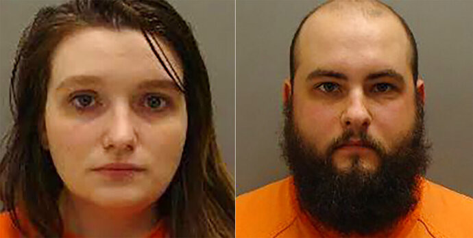 This Jan. 2019 booking photos from Cass County, Neb., show from left,Kassandra Krutina and  David Krutina.  The couple has taken a plea deal in the death of one of their malnourished infant twin daughters. Cass County District Court records show 24-year-old David and 21-year-old Kassandra Krutina, are scheduled to be sentenced Oct. 21, 2019. They'd pleaded guilty to two counts of negligent child abuse causing serious injury.  (Cass County, Neb via AP)