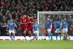 Liverpool's Dejan Lovren, second left, celebrates scoring his side's first goal during the Champions League Group E soccer match between Liverpool and Napoli at Anfield stadium in Liverpool, England, Wednesday, Nov. 27, 2019. (AP Photo/Jon Super)