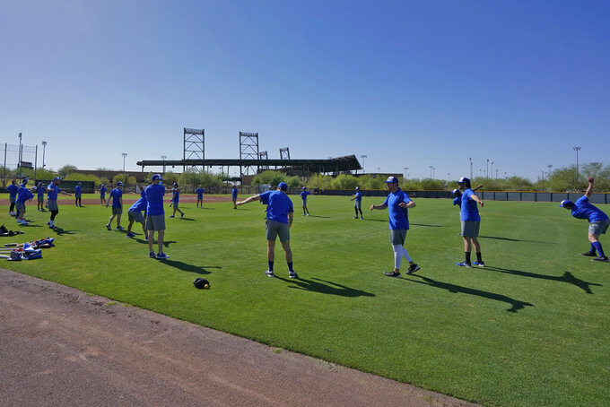 Israel Olympic baseball players work out at Salt River Fields spring training facility, Wednesday, May 12, 2021, in Scottsdale, Ariz. Israel has qualified for the six-team baseball tournament at the Tokyo Olympic games which will be its first appearance at the Olympics in any team sport since 1976. (AP Photo/Matt York)