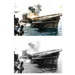 This photo combination shows digital colorization, top, by Anju Niwata and Hidenori Watanave, and its original black and white U.S. Navy photo that the heavily listing USS Franklin, center, is provided assistance by USS Santa Fe after the aircraft carrier had been hit and set afire by a single Japanese dive bomber, during the Okinawa invasion, on March 19, 1945. Niwata and Watanave are adding color to pre-war and wartime photographs using a combination of methods. These include AI technologies, but also traditional methods to fill the gaps in automated coloring. These include going door to door interviewing survivors who track back childhood memories, and communicating on social media to gather information from a wider audience. The team has brought to life more than a thousand black-and-white photographs that illustrate the pre-war lives of ordinary people and chronicles the onset and destruction caused by World War II. (U.S. Navy/Anju Niwata & Hidenori Watanave v