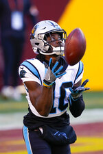 Carolina Panthers wide receiver Curtis Samuel (10) makes a catch before the start of an NFL football game against the Washington Football Team, Sunday, Dec. 27, 2020, in Landover, Md. (AP Photo/Mark Tenally)