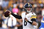Pittsburgh Steelers quarterback Devlin Hodges passes during the first half of an NFL football game against the Los Angeles Chargers, Sunday, Oct. 13, 2019, in Carson, Calif. (AP Photo/Kelvin Kuo)