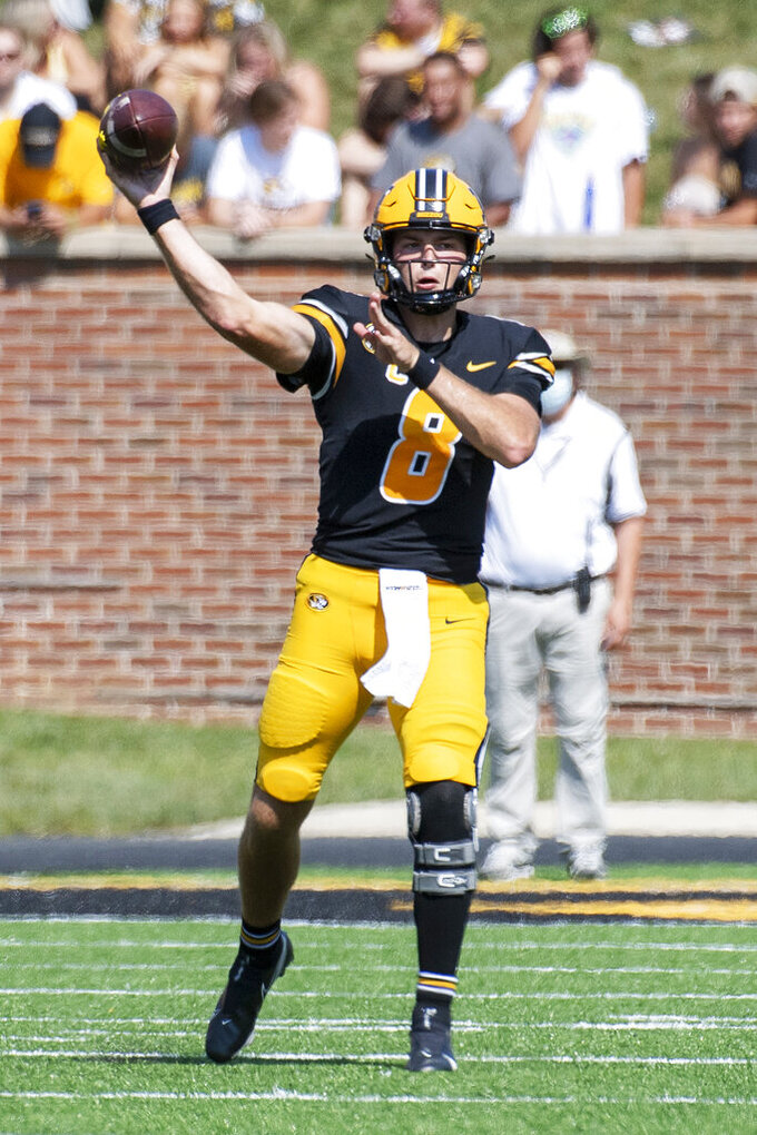 Missouri quarterback Connor Bazelak throws a pass during the second quarter of an NCAA college football game against Southeast Missouri State, Saturday, Sept. 18, 2021, in Columbia, Mo. (AP Photo/L.G. Patterson)