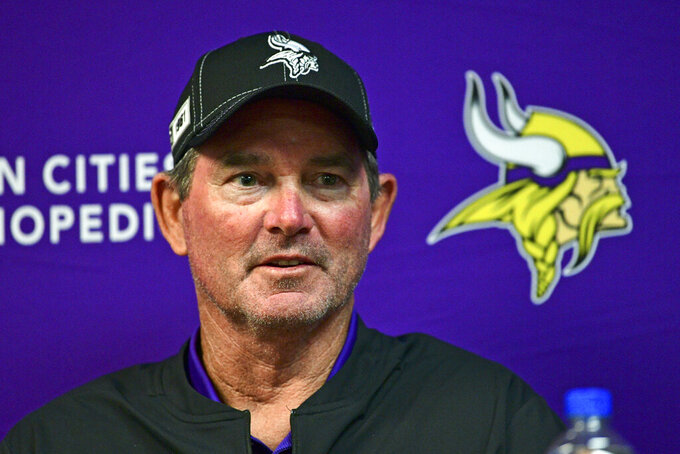 Minnesota Vikings coach Mike Zimmer talks with reporters following the team's 27-23 loss to the Buffalo Bills in an NFL preseason football game in Orchard Park, N.Y., Thursday, Aug. 29, 2019. (AP Photo/David Dermer)