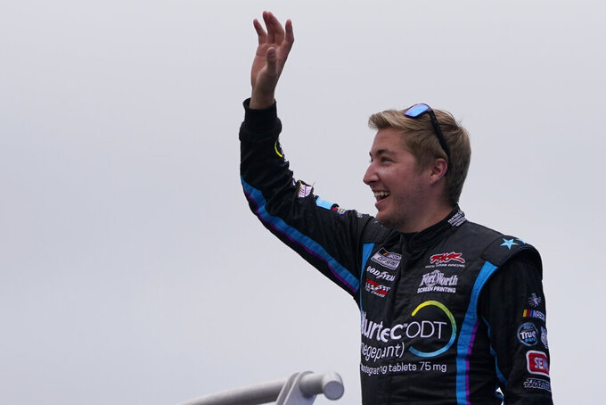 Garrett Smithley at a NASCAR Cup Series auto race, Sunday, July 18, 2021, in Loudon, N.H. (AP Photo/Charles Krupa)