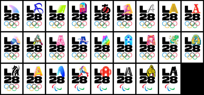 "This combination of images provided by LA28 shows logos released Tuesday, Sept. 1, 2020, by the Los Angeles Olympic organizing committee features a black ""L"" and a ""28"" being paired with the letter ""A"" which is designed to show up in almost any color, shape or configuration as a way of representing the diversity of the Los Angeles community. (LA28 via AP)"