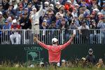 Gary Woodland celebrates after winning the U.S. Open Championship golf tournament Sunday, June 16, 2019, in Pebble Beach, Calif. (AP Photo/Marcio Jose Sanchez)