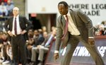 Alabama head coach Avery Johnson tracks his defense against Mississippi State during the first half of an NCAA college basketball game, Tuesday, Jan. 29, 2019, in Tuscaloosa, Ala. (AP Photo/Vasha Hunt)