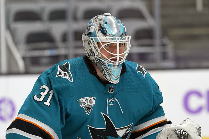 FILE - San Jose Sharks goaltender Martin Jones (31) plays against the Colorado Avalanche during an NHL hockey game in San Jose, Calif., in this Monday, May 3, 2021, file photo. Several goaltenders were on the move in NHL free agency Wednesday, July 28, 2021. Martin Jones joined the Philadelphia Flyers. (AP Photo/Jeff Chiu, File)