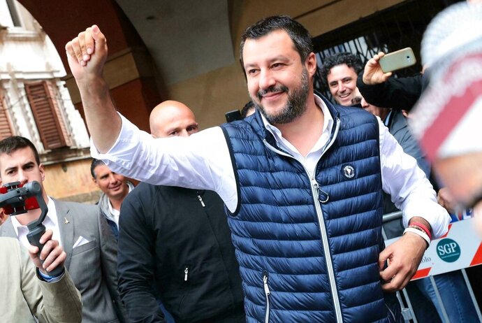 Italian Deputy Premier and Interior Minister, Matteo Salvini, attends an election campaign rally in Sassuolo, Italy, Sunday, May 19, 2019. Salvini, the head of Italy's right-wing League party, has positioned himself at the forefront of a growing movement of nationalist leaders seeking to free the European Union's 28 nations from what he called Brussels'