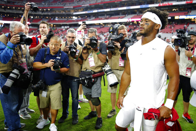 Arizona Cardinals quarterback Kyler Murray leaves the field after an NFL football game against the Seattle Seahawks, Sunday, Sept. 29, 2019, in Glendale, Ariz. The Seahawks won 27-10. (AP Photo/Rick Scuteri)