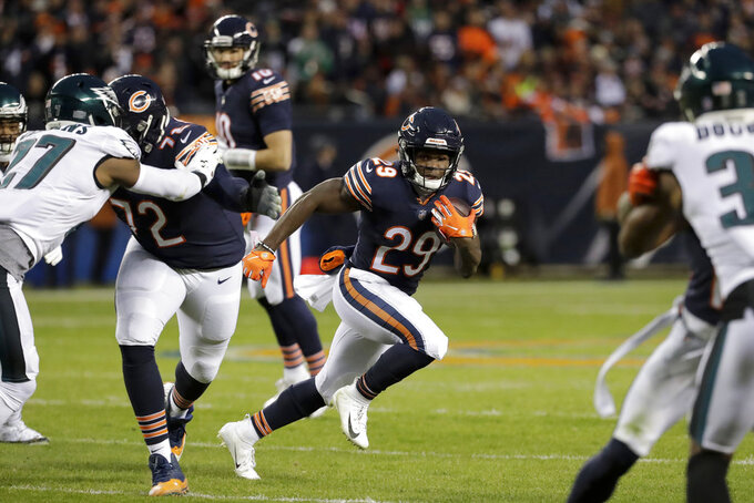Chicago Bears running back Tarik Cohen (29) rushes for yardage during the first half of an NFL wild-card playoff football game against the Philadelphia Eagles Sunday, Jan. 6, 2019, in Chicago. (AP Photo/Nam Y. Huh)