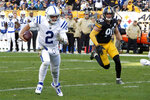 Indianapolis Colts quarterback Brian Hoyer (2) scrambles for a first down past Pittsburgh Steelers outside linebacker T.J. Watt (90) in the second half of an NFL football game , Sunday, Nov. 3, 2019, in Pittsburgh. (AP Photo/Gene J. Puskar)