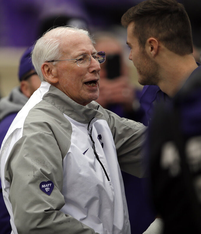 Kansas State head coach Bill Snyder greets seniors before an NCAA college football game against Texas Tech in Manhattan, Kan., Saturday, Nov. 17, 2018. (AP Photo/Orlin Wagner)
