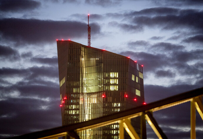 Clouds pass by the European Central Bank in Frankfurt, Germany, Thursday, Jan. 16, 2020. (AP Photo/Michael Probst)