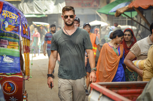 This image released by Netflix shows Chris Hemsworth in a scene from