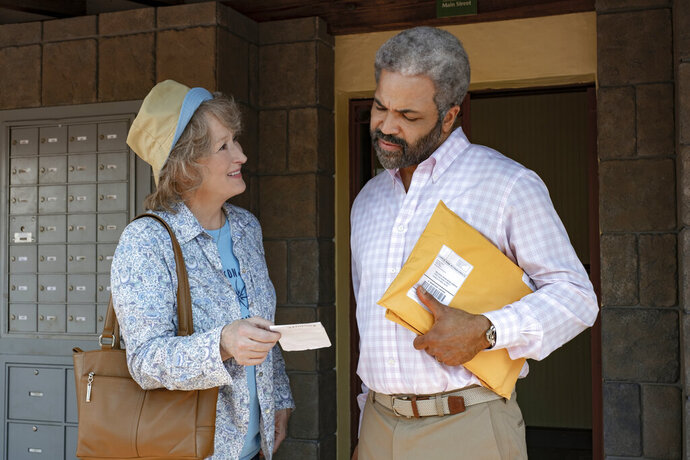 FILE - This image released by Netflix shows Meryl Streep, left, and Jeffrey Wright in a scene from