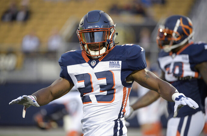 FILE - In this March 16, 2019, file photo, Orlando Apollos defensive back Mark Myers Jr. (23) warms up before an AAF football game against the Arizona Hotshots Saturday,, in Orlando, Fla.  The New York Jets on Thursday, June 13, 2019, have signed Myers and waived safety John Battle. (AP Photo/Phelan M. Ebenhack, File)