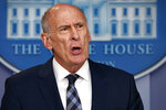 FILE - In this Aug. 2, 2018, file photo, Director of National Intelligence Dan Coats speaks during a daily press briefing at the White House in Washington. Coats is to resign in days, after a two-year tenure marked by President Donald Trump's clashes with intelligence officials, U.S. officials confirmed on Sunday, July 28, 2019. (AP Photo/Evan Vucci, File)