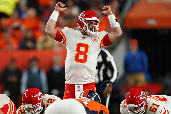 Kansas City Chiefs quarterback Matt Moore (8) makes a call during the second half of an NFL football game against the Denver Broncos, Thursday, Oct. 17, 2019, in Denver. (AP Photo/Jack Dempsey)