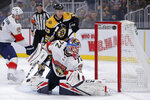 Florida Panthers goaltender Sergei Bobrovsky (72) looks back on a goal by Boston Bruins left wing Anders Bjork during the second period of an NHL hockey game in Boston, Tuesday, Nov. 12, 2019. Behind Bobrovsky is Boston Bruins center Charlie Coyle. (AP Photo/Charles Krupa)
