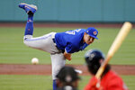 Toronto Blue Jays pitcher Nate Pearson delivers during the first inning of an exhibition baseball game against the Boston Red Sox, Tuesday, July 21, 2020, at Fenway Park in Boston. (AP Photo/Charles Krupa)