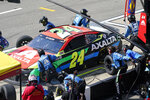 William Byron makes a pitstop at the NASCAR Cup Series auto race at Michigan International Speedway, Sunday, Aug. 22, 2021, in Brooklyn, Mich. (AP Photo/Carlos Osorio)