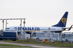 A Ryanair plane sits on the tarmac at the Bordeaux-Merignac airport in southwestern France, after being impounded by French authorities, Friday, Nov. 9, 2018. Storms, strikes, computer failures _ you can now add
