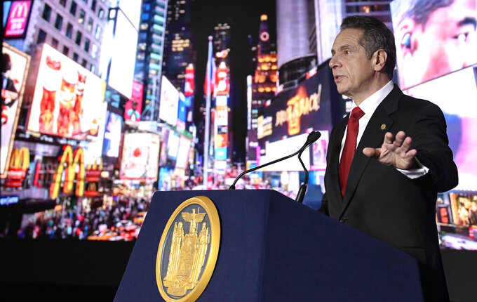 New York Gov. Andrew Cuomo delivers his State of the State address virtually from The War Room at the state Capitol, Monday, Jan. 11, 2021, in Albany, N.Y. (AP Photo/Hans Pennink, Pool)