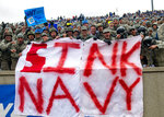 Air Force cadets hold a huge sign before the team faced off against the Navy  inan NCAA college football game at Falcon Stadium at the U.S. Air Force Academy, Saturday Oct. 6, 2018, in Colorado Springs, Colo.  (Dougal Brownlie,/The Gazette via AP)