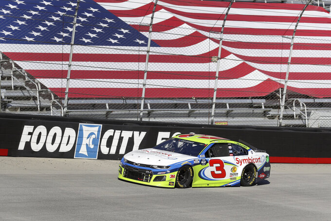Austin Dillon (3) drives during a NASCAR Cup Series auto race at Bristol Motor Speedway Sunday, May 31, 2020, in Bristol, Tenn. (AP Photo/Mark Humphrey)
