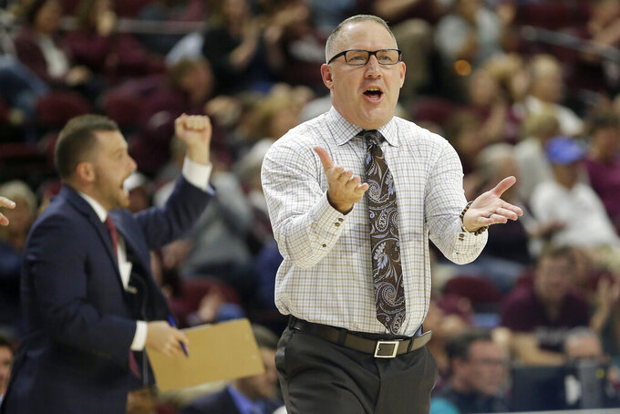 Texas A&M head coach Buzz Williams talks to his team during a timeout against Northwestern State during the second half of an NCAA college basketball game Wednesday, Nov. 6, 2019, in College Station, Texas. (AP Photo/Sam Craft)
