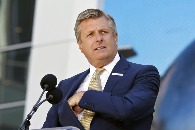 FILE - In this Sept. 3, 2019, file photo, Golden State Warriors COO and President Rick Welts is shown during the ribbon cutting ceremony of the Chase Center in San Francisco. Welts will leave his job as Golden State Warriors president and chief operating officer after this season and stay in the organization as an adviser. This is Welts' 10th season with the team, and the Warriors said Thursday, April 8, 2021 they expect to name his successor within a week. (AP Photo/Eric Risberg, File)