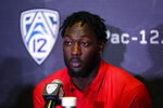 Utah linebacker Devin Lloyd answers questions during the Pac-12 Conference NCAA college football Media Day Tuesday, July 27, 2021, in Los Angeles. (AP Photo/Marcio Jose Sanchez)