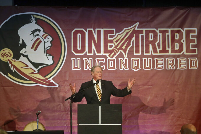 Florida State president John Thrasher speaks prior to head football coach Mike Norvell being introduced at a press conference Sunday, Dec. 8, 2019, in Tallahassee, Fla. Norvell is Florida State's new coach, taking over a Seminoles program that has struggled while he was helping to build Memphis into a Group of Five power. (AP Photo/Phil Sears)