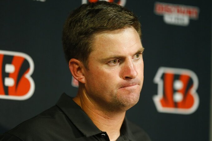 Cincinnati Bengals head coach Zac Taylor speaks during a news conference after an NFL football game against the Buffalo Bills Sunday, Sept. 22, 2019, in Orchard Park, N.Y. The Bills won 21-17. (AP Photo/John Munson)