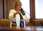 Illinois State Sen. Terri Bryant, R-Murphysboro, comments that downstate Illinois was forgotten and ignored during debate of Senate Bill 2048, a comprehensive energy proposal, on the floor of the Illinois Senate at the Illinois State Capitol in Springfield, Ill., Monday, Sept. 13, 2021. (Justin L. Fowler/The State Journal-Register via AP)