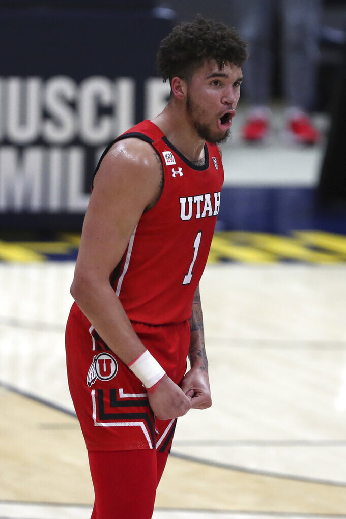 Utah forward Timmy Allen celebrates after a three-point basket against California during the first half of an NCAA college basketball game in Berkeley, Calif., Thursday, Feb. 11, 2021. (AP Photo/Jed Jacobsohn)