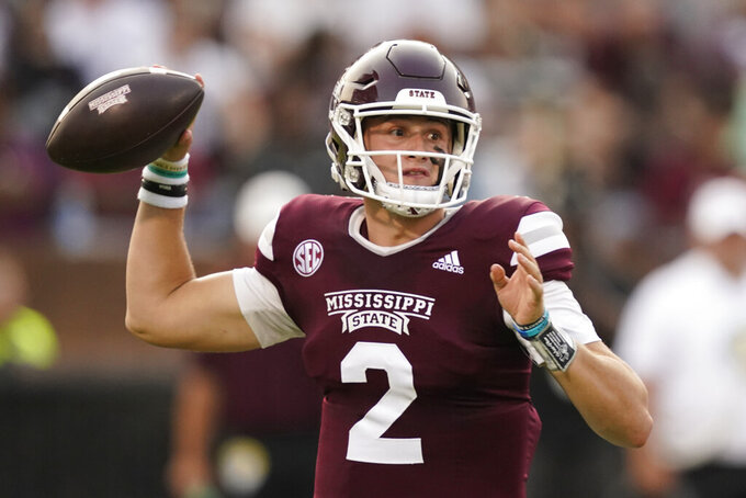 Mississippi State quarterback Will Rogers (2) throws a pass against North Carolina State during the first half of an NCAA college football game in Starkville, Miss., Saturday, Sept. 11, 2021. (AP Photo/Rogelio V. Solis)
