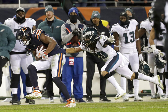 Chicago Bears wide receiver Allen Robinson (12) makes a catch against Philadelphia Eagles free safety Avonte Maddox (29) during the second half of an NFL wild-card playoff football game Sunday, Jan. 6, 2019, in Chicago. (AP Photo/Nam Y. Huh)